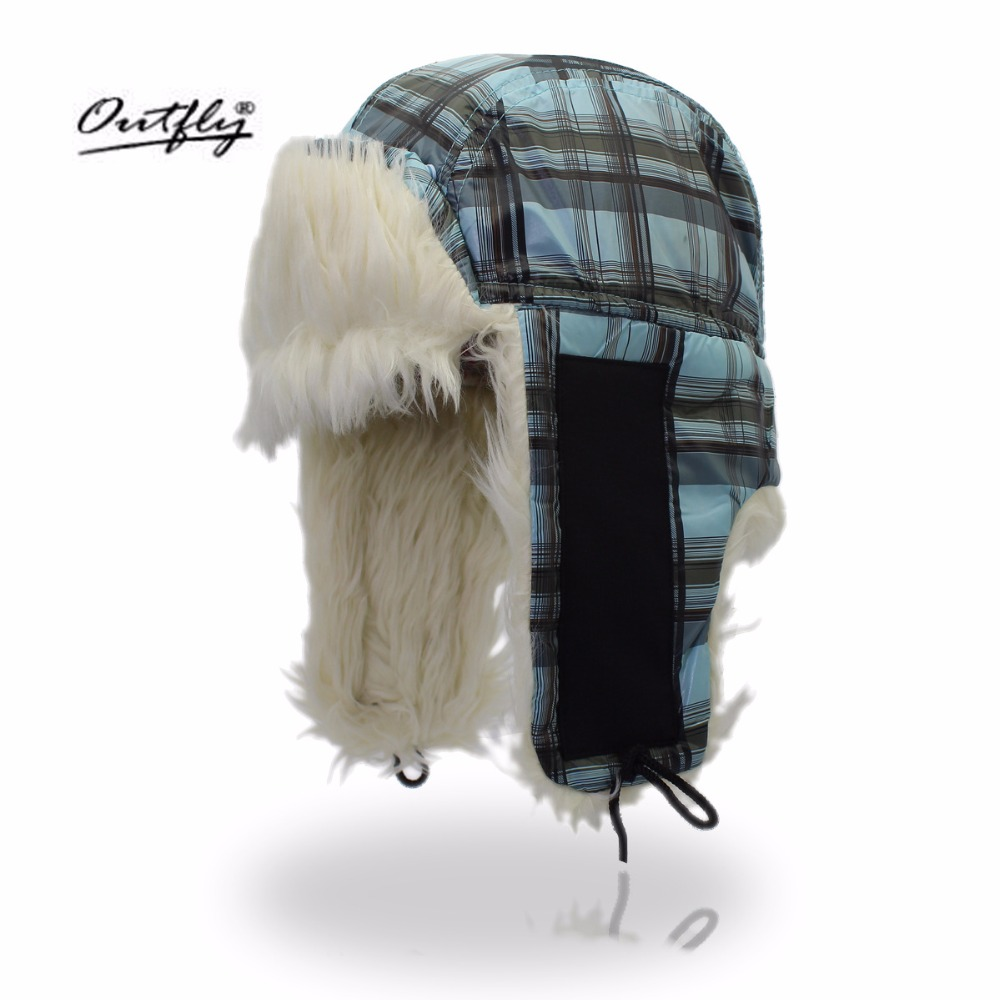 Outfly Winter Fur Bomber Hats Cold Anti-snow Protection Ear Lei Feng Cap Couple Warm Small Lattice Winter Hat