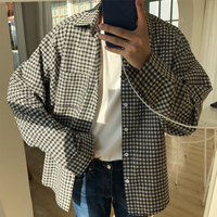 Casual Cotton Plaid Pockets Turn Down Collar Loose Men Camisa 2018 Autumn Korean Freshness Youth Long Sleeve Male Shirt M 2XL