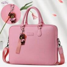Gift bear pendant PU waterproof Handbag Laptop Bag 14″ 15″ 15.6inch Sleeve Case For Macbook Notebook Air Pro girls Shoulder Bags