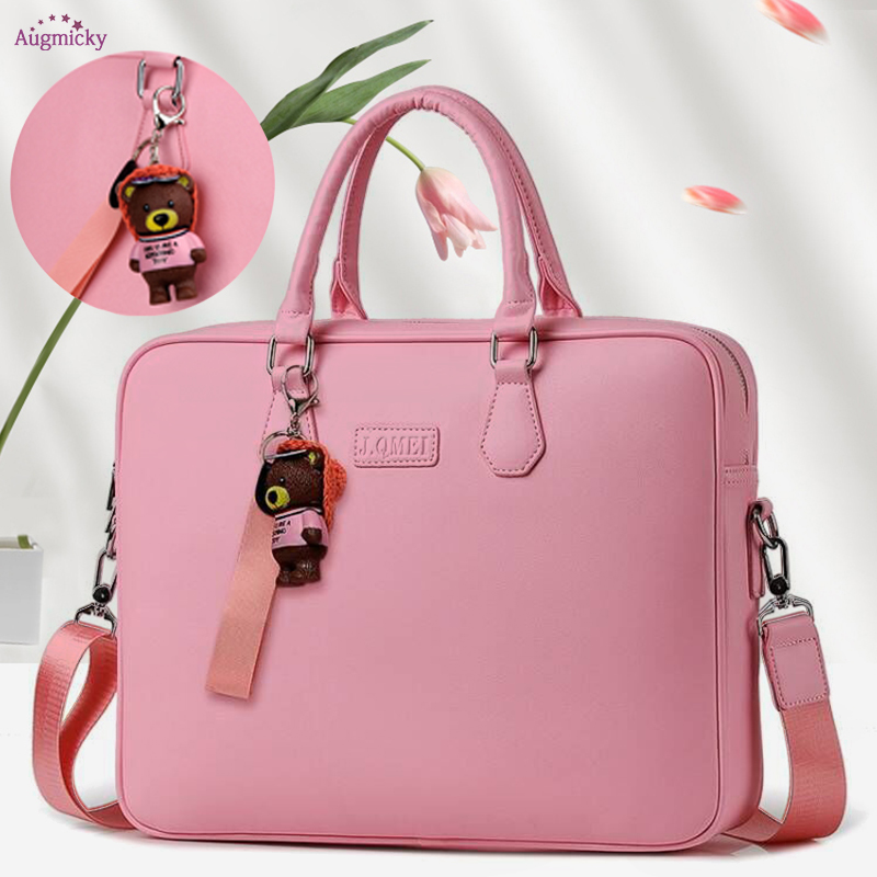 Gift bear pendant PU waterproof Handbag Laptop Bag 14 15 15.6inch Sleeve Case For Macbook Notebook Air Pro girls Shoulder Bags