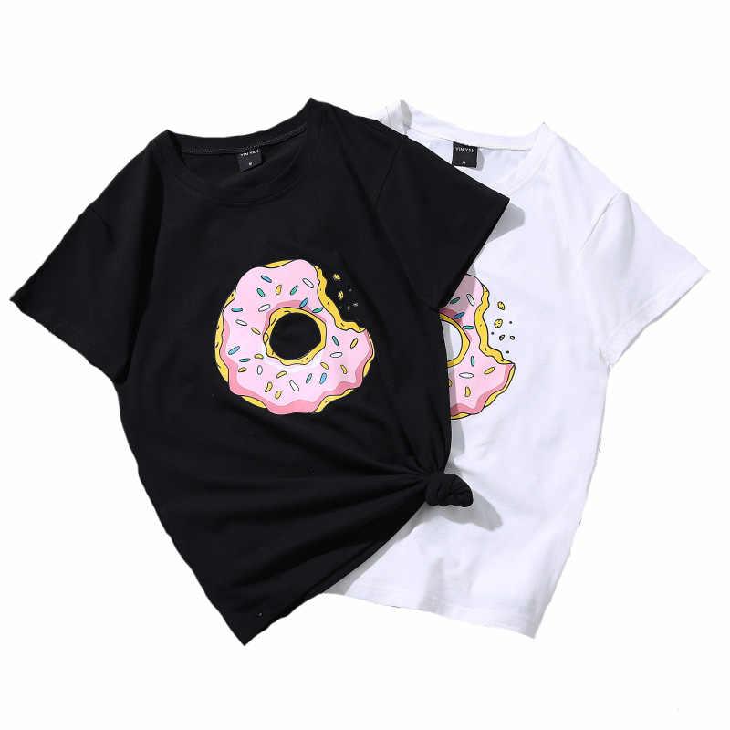 14e66763a3e62 2019 Summer Casual T Shirt Tops Cute Donuts Print Women Shirt ...