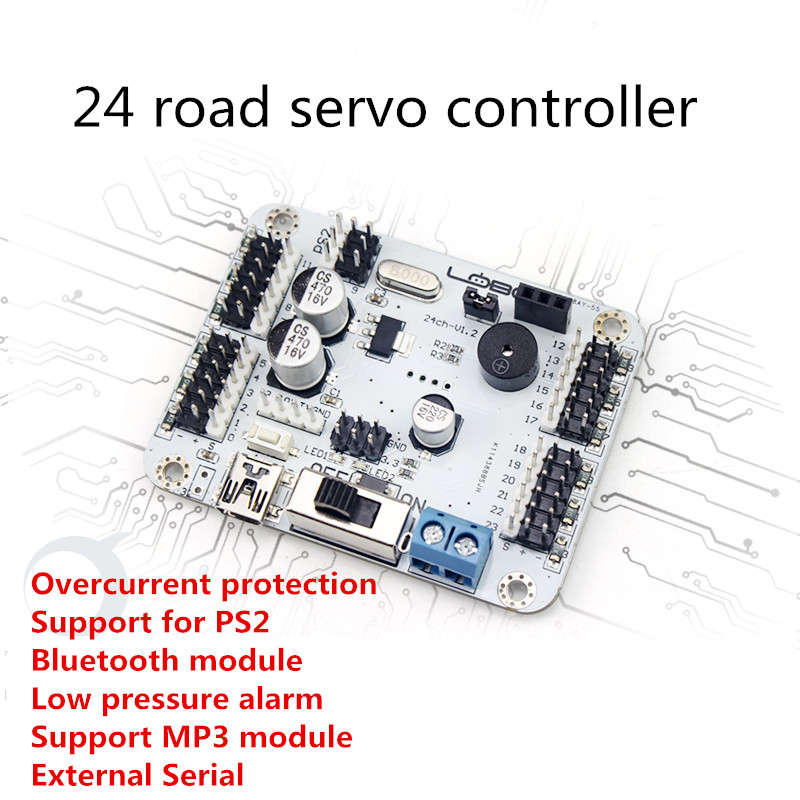 24 Channels Servo Control Board  supports PS2/ Bluetooth / MP3 module robot motherboard for DIY robot arm accessories wire feeder control panel board nbc350 500 igbt module control gas welding motherboard repair replacement