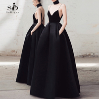Spaghetti Straps Wedding Dress Black Newest Coming 2018 Sexy Custom made with Pockets Bridal Gown Formal Party