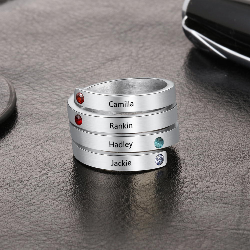 Personalized Stainless Steel Stackable Rings for Women Engrave Name Ring with 4 Birthstones Custom Family Gift JewelOra RI103803 in Rings from Jewelry Accessories