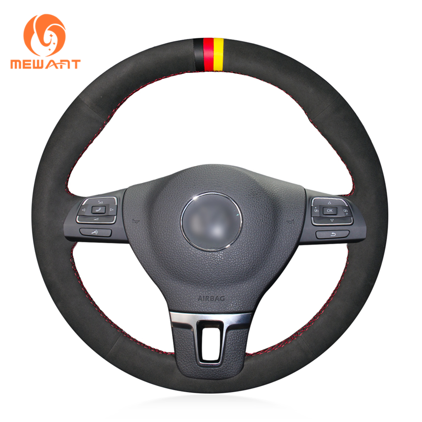 MEWANT Leather Suede Genuine leather Steering Wheel Cover for Volkswagen VW Gol Tiguan Passat B7 Passat CC Touran Jetta Mk6 цена