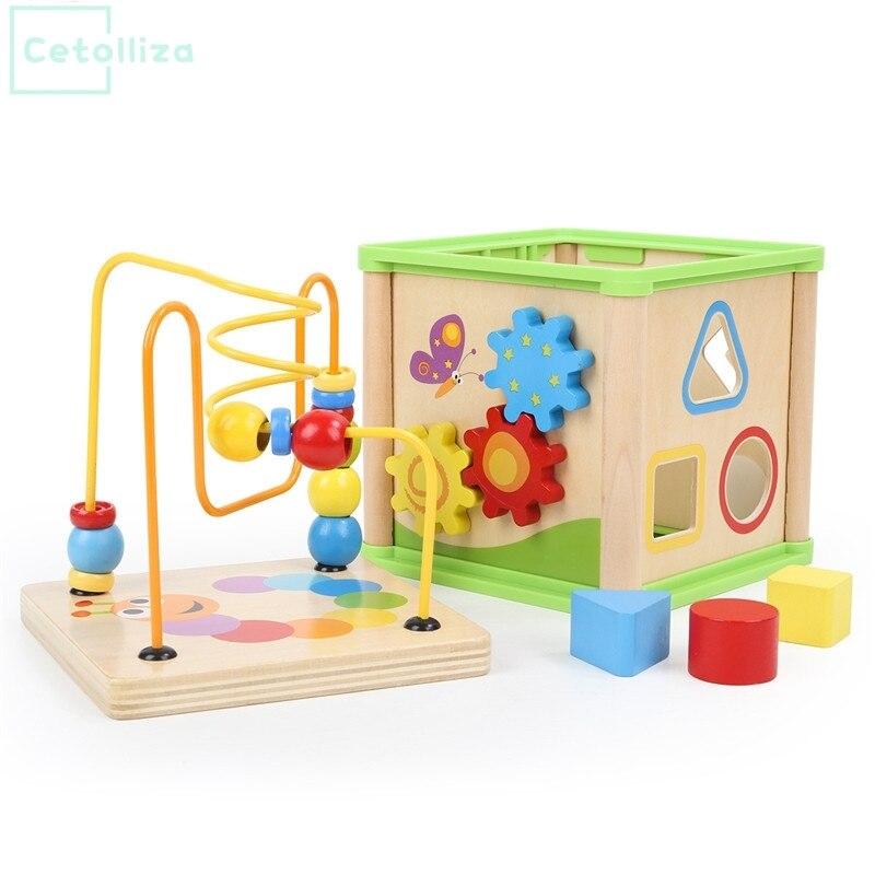En bois Jouets Éducatifs Début 5 dans 1 Activité Cube Bébé Apprenant Tôt le Jouet Temps Horloge Connaître Enfants Joie Drôle Cadeau