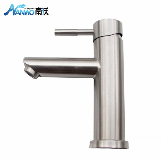 Nanwo Russian Warehouse Hot Cold Basin Faucet 304 Stainless Steel Bathroom Brushed Finish Single Handle
