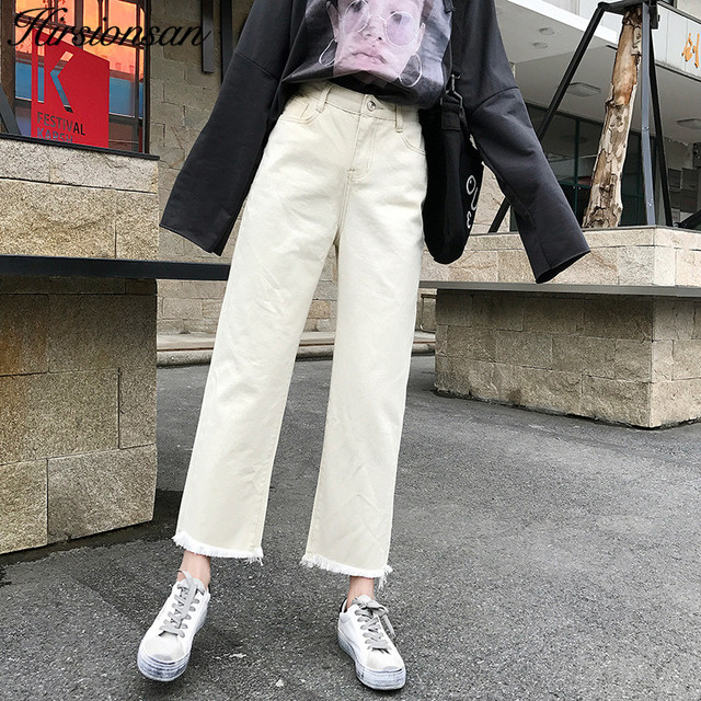 Hirsionsan White Jeans Woman 2019 Spring Korean Loose BF Style Denim Pants  Ankle,Length Straight