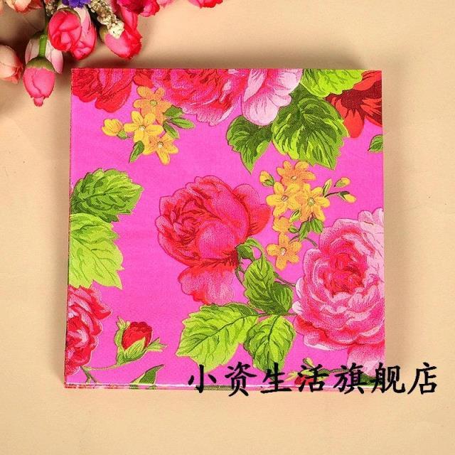 food grade floral paper napkins flower festive party tissue napkins decoupage decoration paper 33cm - Decorative Paper Napkins