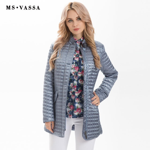 MS VASSA Women Jackets 2019 new Spring Ladies coats fashion jackets stand up collar plus size 5XL 6XL female outerwear