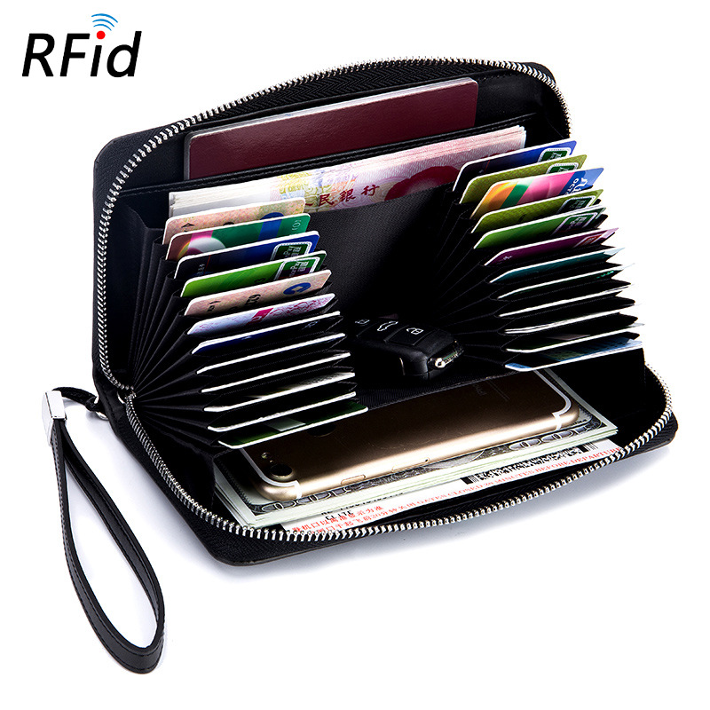 Fashion Cowhide RFID Credit Card Holder for Men Women Split Cow Leather Large Capacity Anti Theft Lady Long Zipper Card Wallets