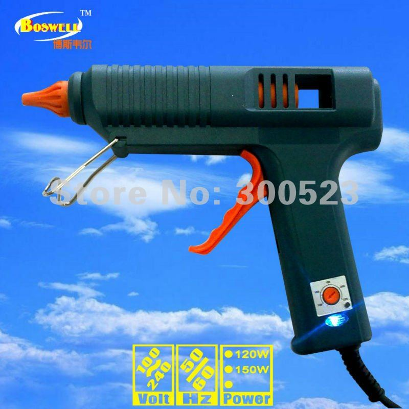 Temperature control thermostat hot melt glue gun,  Au plug, 120W ,plus 5 glue sticks, 1 set/lot  цены