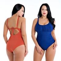 Whole Swimsuit One Piece Solid Swimsuit U Neck Tie Back Orange Bodysuits Large Size Swimwear Wire Free Navy Bathing Suit XXXXL