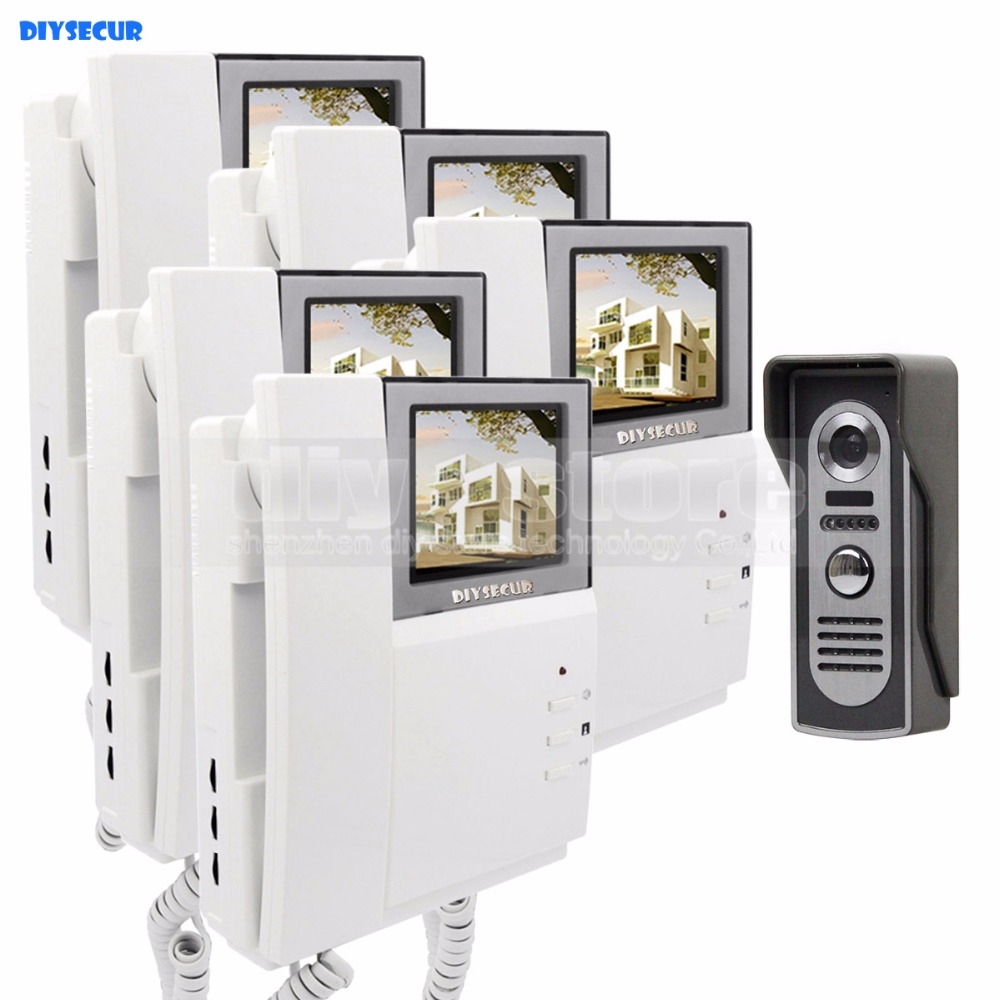 DIYSECUR 800 x 480 HD Screen Video Door Phone Video Intercom Doorbell + 600 TVLine IR Night Vision Camera 1 Camera 5 Monitors cd диск enya the memory of trees 1 cd