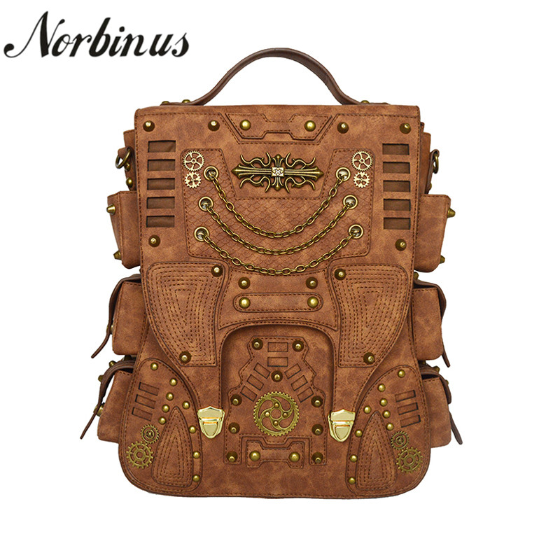 Norbinus Steampunk Backpack for Women Men Gothic PU Leather Bags Vintage School  Bag Backpacks Retro Rock 350572b83c99f