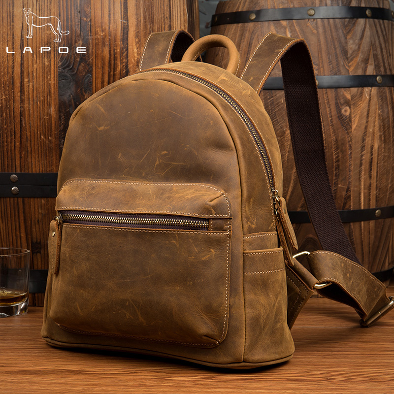 Vintage Backpack Women Carzy Horse Genuine Leather Bag Women Bag Small Women Backpack Mochila Feminina School Bags For Teenagers weave backpack women genuine leather bag women bag cow leather women backpack mochila feminina school bags for teenagers li 1390