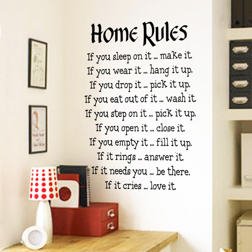 New Large Home Rules Living Room Bedroom Decoration Wall ...