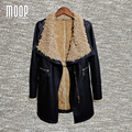 Черный PU кожаные куртки зимой толстые ягненка шерсти воротник декор пальто зима обирали пальто весте ан cuir femme LT1059