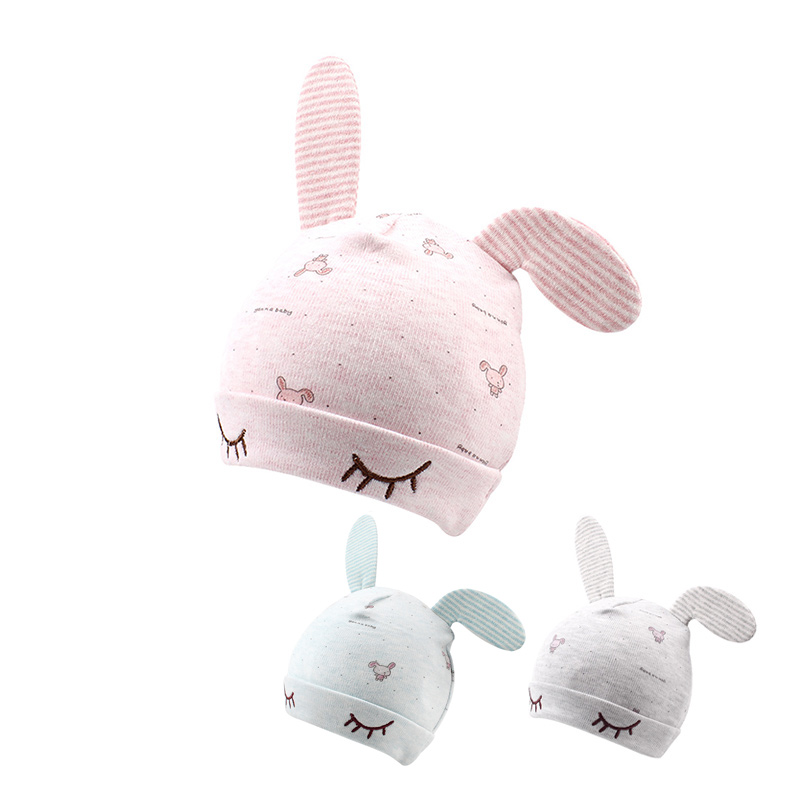 Cartoon Rabbit Newborn Baby Hat Cotton Soft Baby Beanie For Boys Girls Cute Ears Infant Beanie Newborn Baby Tire Hat 0-4M Hat