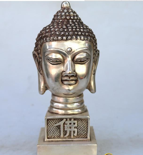 Antique Old QingDynasty silver carving----Buddha head seal, hand crafts,best collection&adornment,free shippingAntique Old QingDynasty silver carving----Buddha head seal, hand crafts,best collection&adornment,free shipping