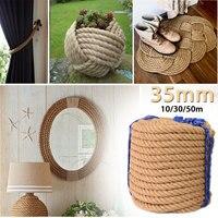 KIWARM 35mm 10/30/50m Jute Ropes Twine Rope Natural Hemp Linen Cord Home Art Decor DIY Handmade Decoration