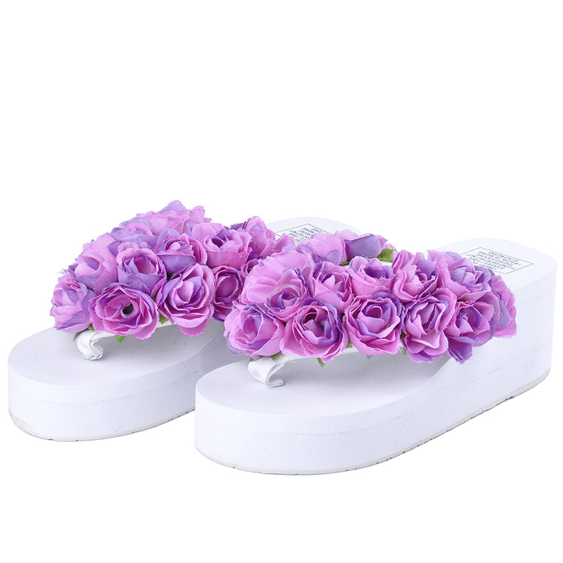 Sweet And Beautiful Flowers Comfort Shoes For Women Female Wedge Slides Summer Slippers Beach Flip Flops medicine science type blood test slides and marrow slides