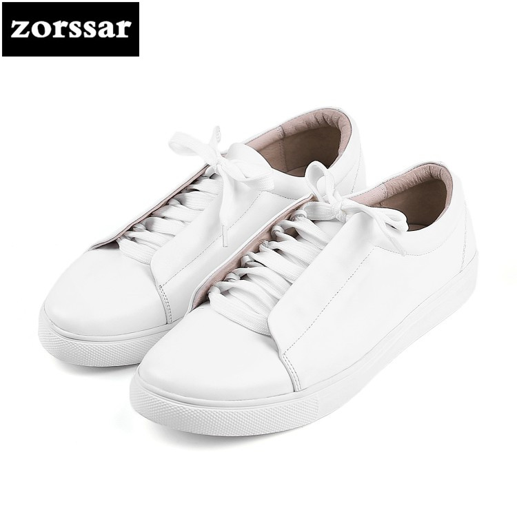 {Zorssar} 2018 Genuine Leather Flat Shoes Women Sneakers Footwear High Quality Comfortable Women Flats Casual Shoes Big Size 43 instantarts women flats emoji face smile pattern summer air mesh beach flat shoes for youth girls mujer casual light sneakers