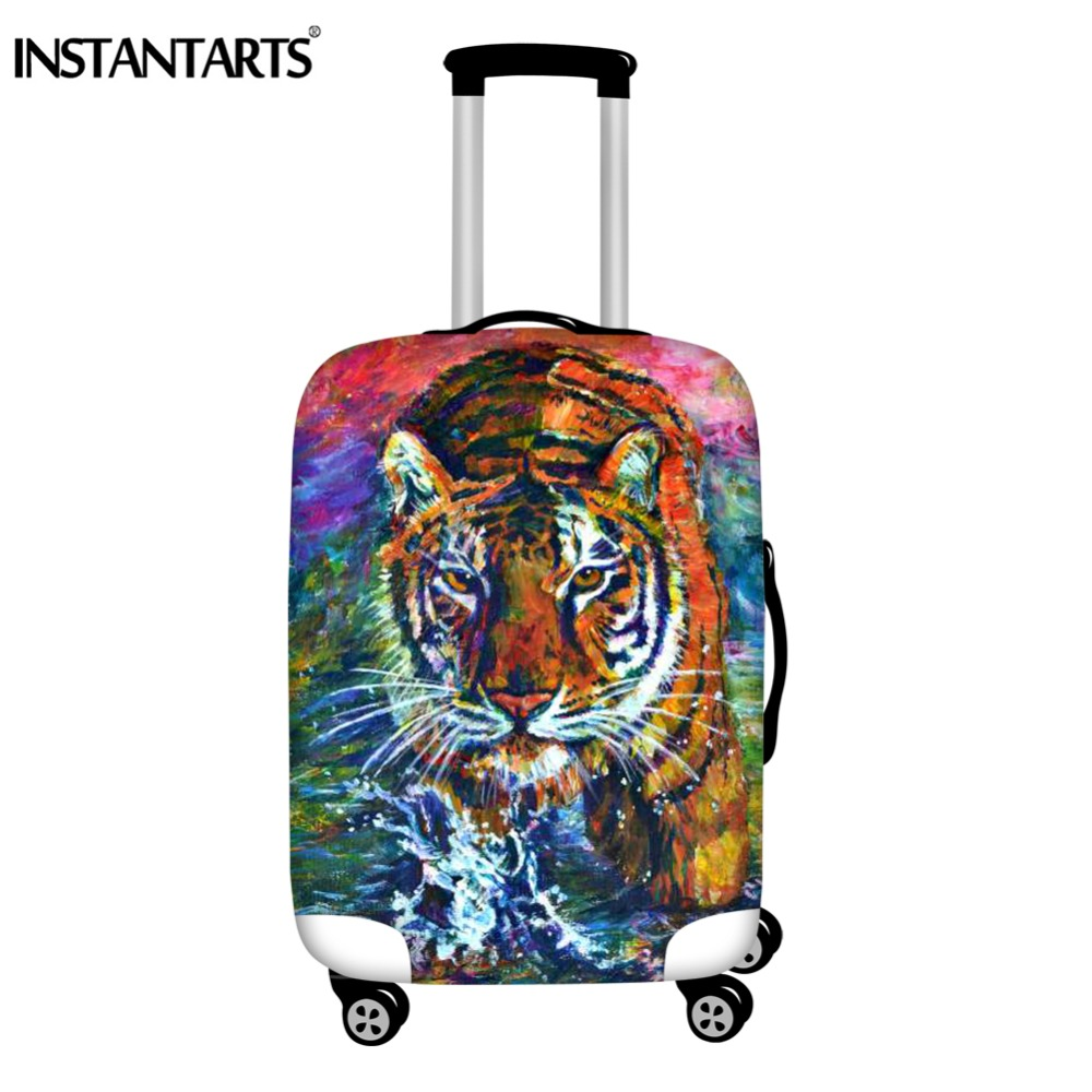 INSTANTARTS Watercolor Painting Tiger Prints Suitcase Protector Cover Zip Waterproof Thick Travel Trolley Luggage Case Covers
