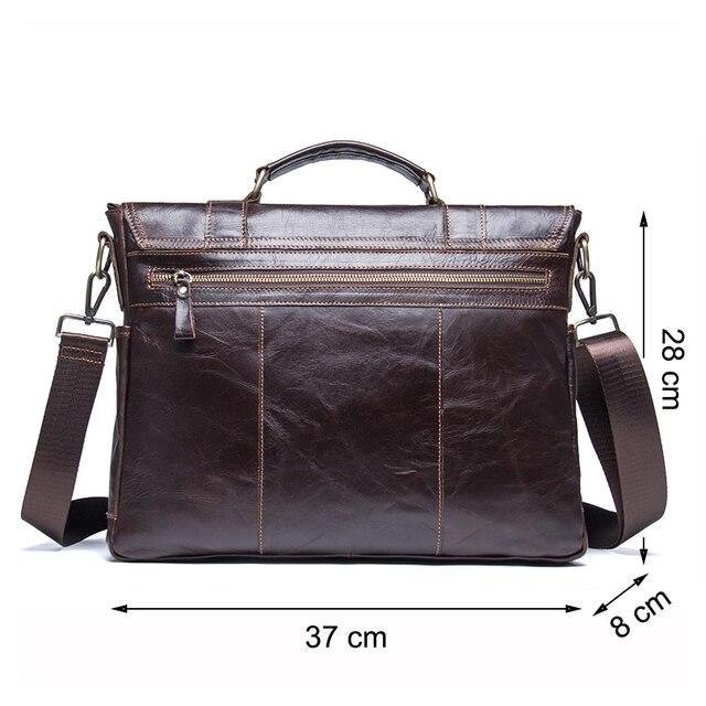 CONTACT'S 2019 Men Retro Briefcase Business Shoulder Bag Leather Handbag Bag Computer Laptop Messenger Bags Men's Travel Bags 1