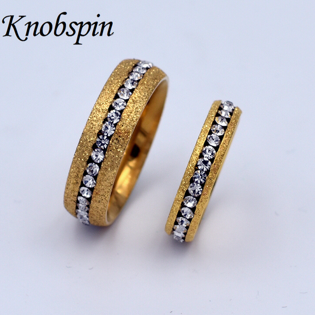 Fashion Brand His & Hers Wedding Engagement Ring Gold Dull polish ...