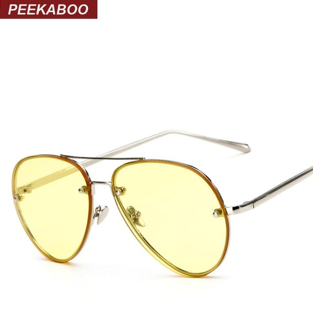 Peekaboo barato océano moda gafas vidrio tintado amarillo Rosa marco ...