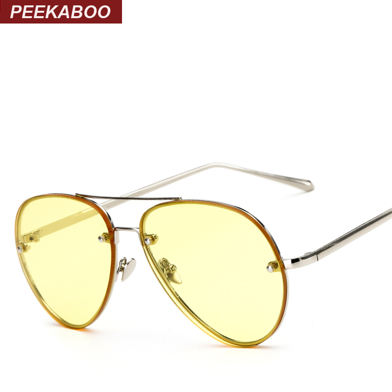 Peekaboo cheap fashion ocean sunglasses tinted lens yellow pink metal frame sunglasses women men UV400 gafas de sol
