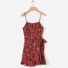 Beach Dress Vintage Dress Ruffles Overlap Mini Dress Summer Boho Elbise Chiffon A-Line Bohemian Sleeveless Print Sundress