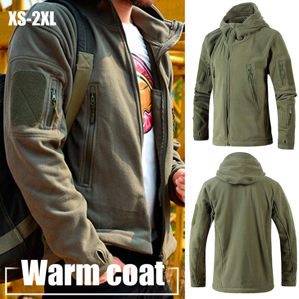 Tactical Fleece Jacket Uniform Soft-Shell Military Coat Hooded Army-Clothing Casual Men