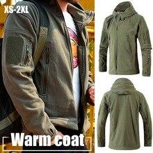 Мужская куртка Пальто Военная Тактическая флисовая куртка Униформа мягкая оболочка Повседневная куртка с капюшоном мужская теплая армейская одежда