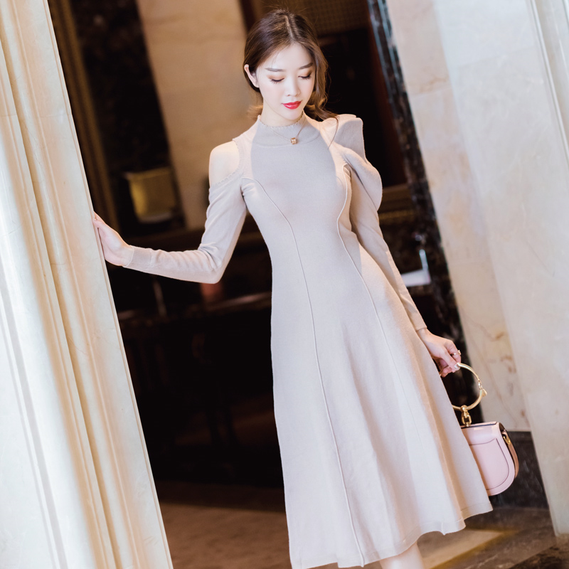 2018 Promotion Time-limited Cotton Polyester A-line Solid Hollow Out Robe Women Long Sleeve Knit Over Knee Sweater Dress