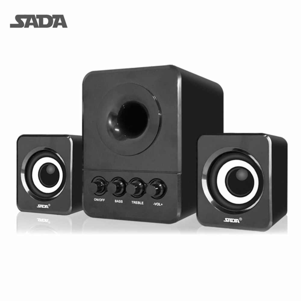 SADA Bedrade Mini USB Super Bass Subwoofer Speaker 2.1 3 Kanaals Computer Speakers Met USB 3.5mm connector Voor mp3 mobiel