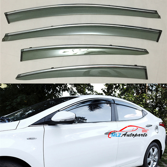 Door Side Window Visors Wind Deflector Sun Rain Guards Stainless Trim Shield 4PCS For Hyundai Elantra & Door Side Window Visors Wind Deflector Sun Rain Guards Stainless ...