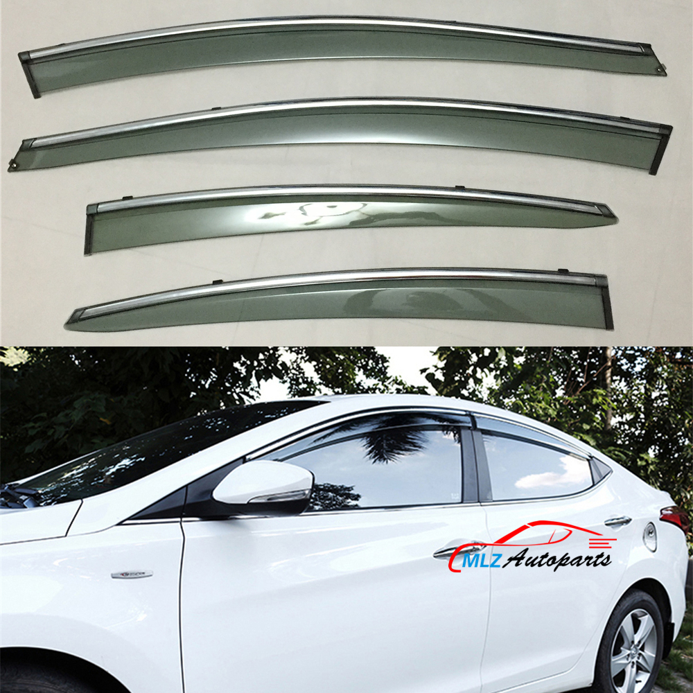 Door side window visors wind deflector sun rain guards stainless trim shield 4pcs for hyundai elantra