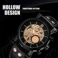 Winner Black Bezel Hollow Skeleton Watch Genuine Leather Strap Mechanical Automatic Mens Watch Top Brand Luxury