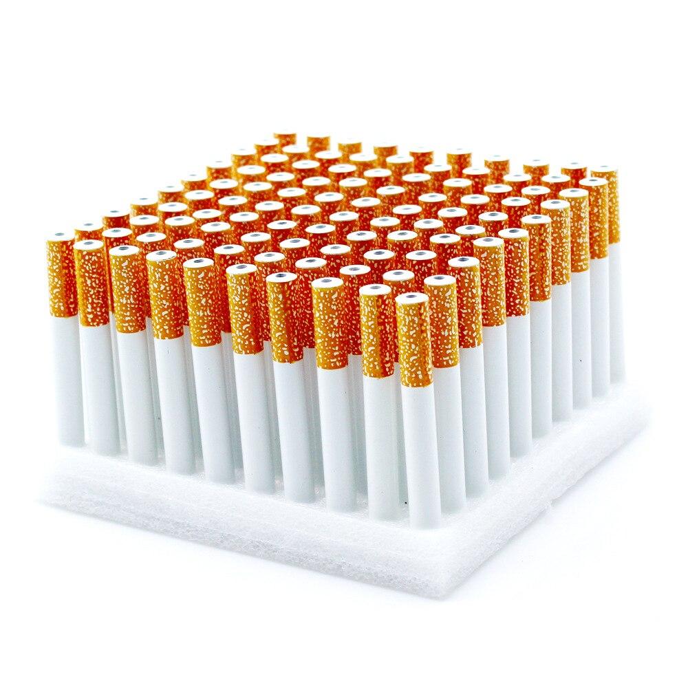En gros 78 MM/55 MM 100 pièces/boîte forme de Cigarette en aluminium en métal tuyau de mauvaises herbes tabac accessoires de fumer tuyaux filtrants