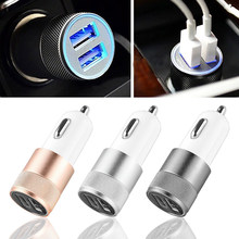 Dual USB Car Charger Adapter 3.1A Auto Vehicle Metal Charger For Smart Phone/Tablet(China)