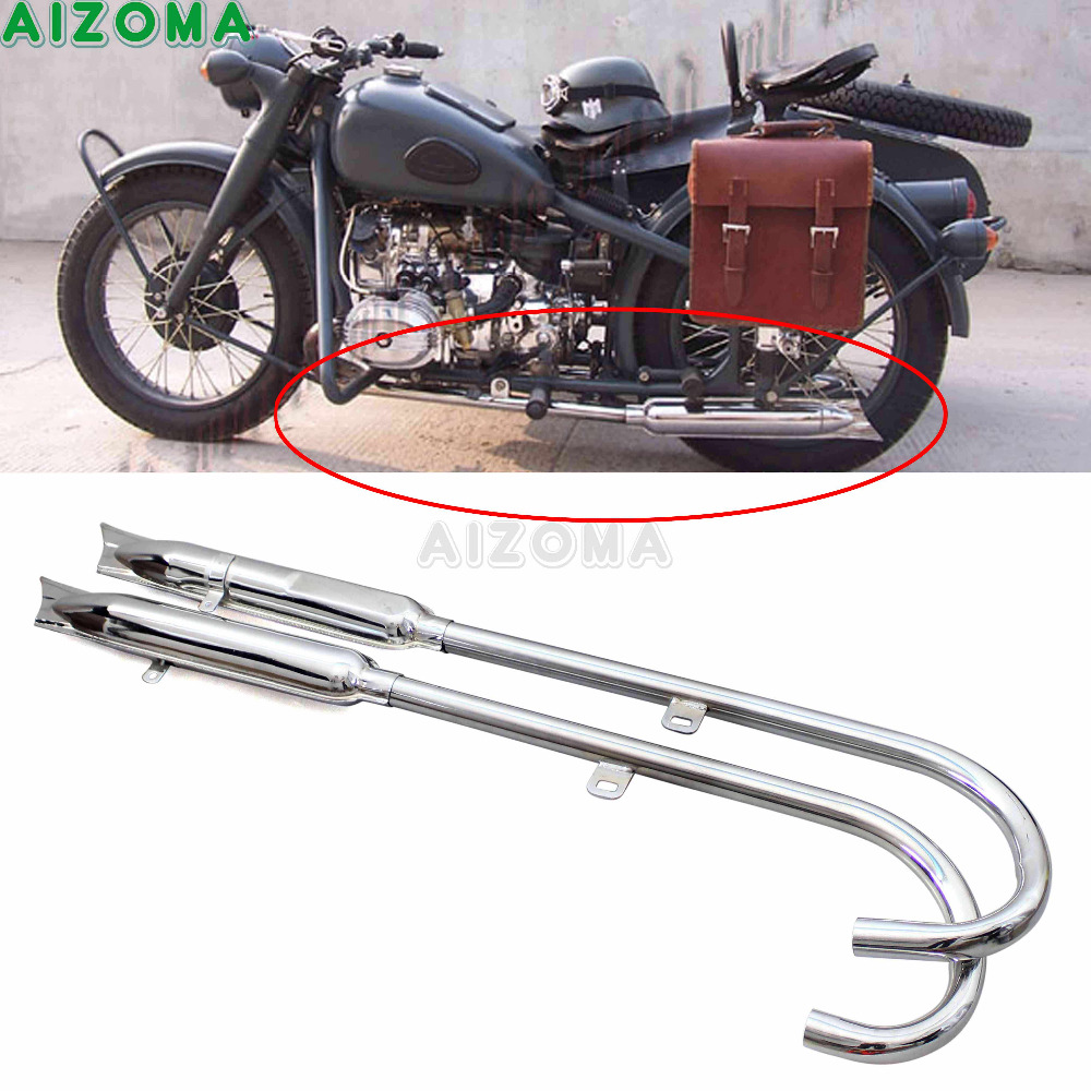 Motorcycle Chrome Retro 750cc Fishtail Exhaust Muffler Pipe 24HP Front Rear Engine Part For BMW K750 M1 M72 R71 R12 Ural Sidecar