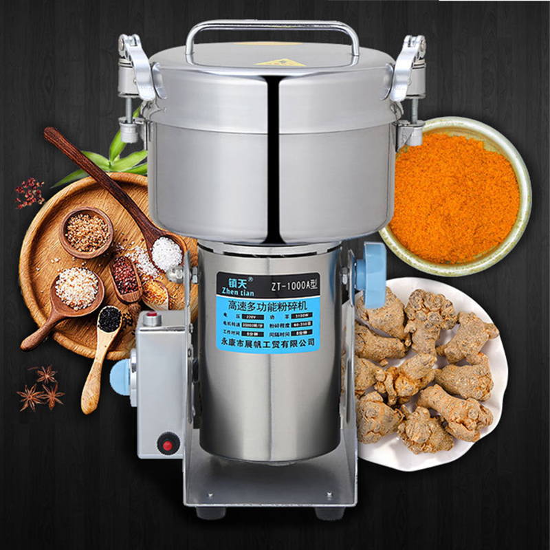 Home Use Food Grinder Machine 220V/110V Commercial Electric Food Mill Powder Machine 1000g Stainless Steel Mills 10oz stainless steel 110v 220v electric commercial popcorn machine with temperature control