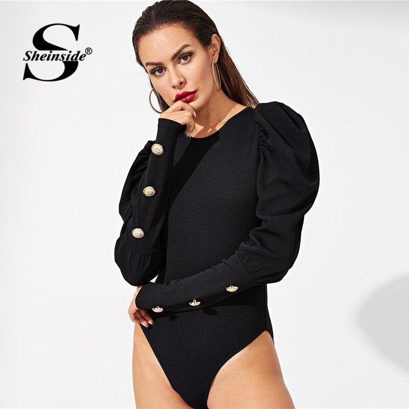 Analytisch Sheinside Taste Puff Sleeve Elegante Body Frauen Solide Langarm Sexy Bodys 2018 Herbst Mittlere Taille Dünn Schwarz Body