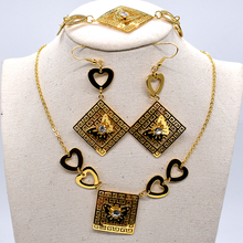 AMUMIU Women Necklace/Earrings/Bracelet Sets Stainless Steel Gold Color Heart Butterfly square Female Jewelry Gifts KTZ037