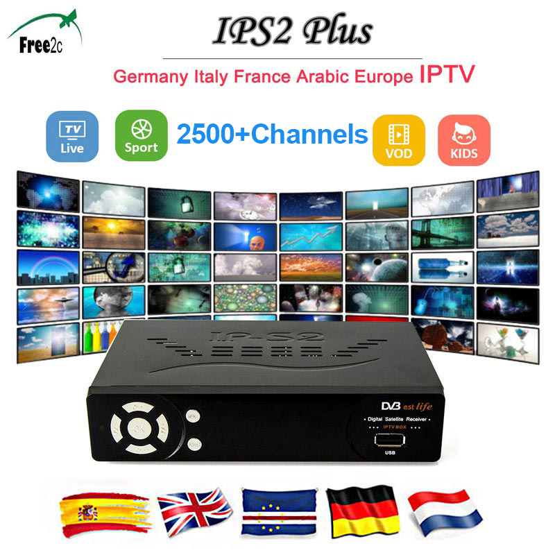 IPS2 Plus tv BOX+USB wifi Satellite Receiver  ips2 plus DVB-S2 Tuner support 1 year IPTV 2500+ Spain Italy Poland Europe LIVE TV pvt 898 5g 2 4g car wifi display dongle receiver airplay mirroring miracast dlna airsharing full hd 1080p hdmi tv sticks 3251