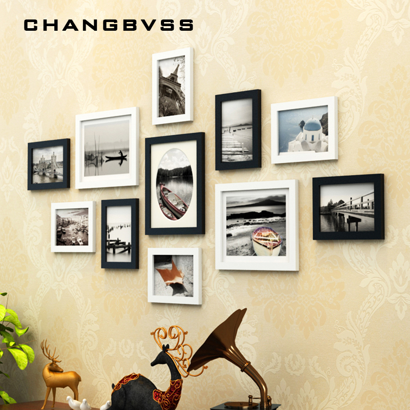 Classical 11pcs Set Black White Frame For Wall Decoration Wooden Photo Frame For Home decor Creative