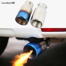 цена на Car Exhaust Muffler Tip Stainless Steel Pipe Chrome Trim Rear Tail Throat matte Trim For Toyota prado 120 fj150 land cruiser