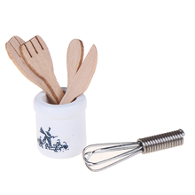 Wooden Knife And Fork Metal Whisk Jar Set Dollhouse Miniatures 1:12 Accessories Doll House Mini Kitchen Accessories